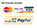 We proudly accept Visa or Mastercard